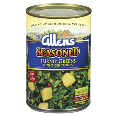 Seasoned Turnip Greens with Diced Turnips